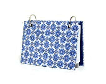 """3"""" x 5"""" or 4"""" x 6"""" index card binder with a  blue geometric design, recipe card binder or writing journal with a set of tab dividers"""