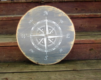Nautical Compass Wall Art. Wood Nautical Compass Rose Sign. Handmade Nautical Decor. Coastal Decor. Beach Home Decor. Made To Order