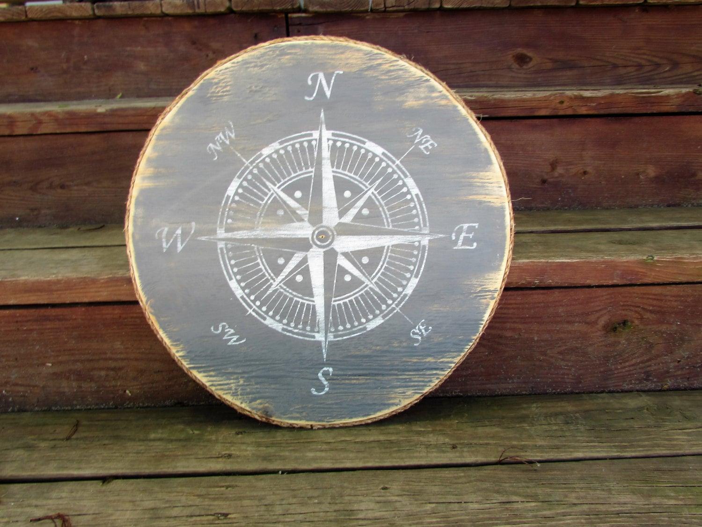 Nautical Compass Wall Art. Wood Nautical Compass Rose Sign