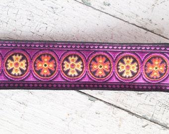 Vintage 60s Purple Ribbon, Mod Flower Power Cotton Jacquard Ribbon Trim, 1 Yd, Craft Supplies, Sewing & Needlecraft Supplies, Trim Tapes