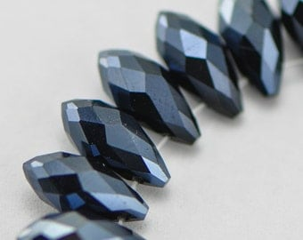 Crystal Faceted Teardrop, Glass Briolette beads 6x12mm , Sparkly Black - (HS06-50)/ 95 beads