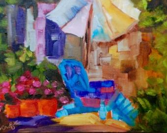 Mini Adirondack Chair Modern Impressionist Original Oil Landscape by Rebecca Croft