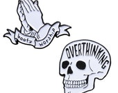 Booty Worship and Overthinking enamel pin pack. Lapel Pins.