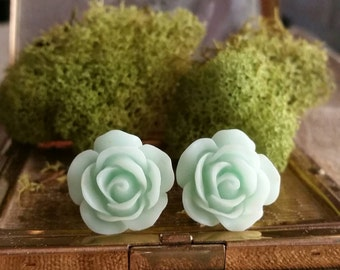 Flower Plug, Wedding Gauges, Prom Plugs, Mint Green, Roses