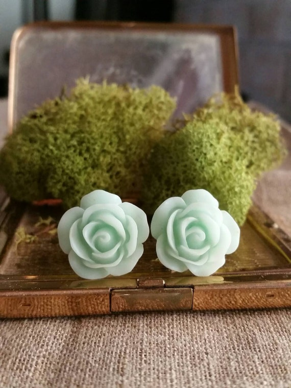 Flower Plug, Wedding Gauges, Prom Plugs, Mint Green, Roses