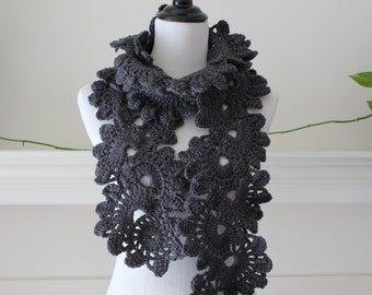 Crocheted Charcoal Gray Neckwarmer, Scarf