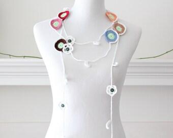 Crochet Pink, Red, Brown, Tan, Orange Lariat Necklace, Scarf, Scarflette