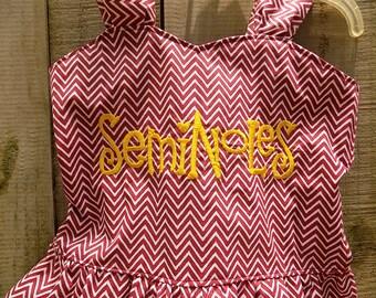 Seminoles Embroidered Garnet Chevron Playsuit   size 5