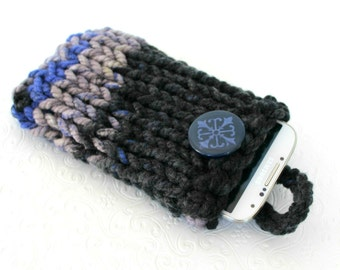 Gray Blue Knit Phone Sleeve, Knit Phone Case, Fits Galaxy S7, Knit IPhone 6 Plus Sleeve, Gray Knit Phone Sock,  HTC 8X, LG, Galaxy Edge Case