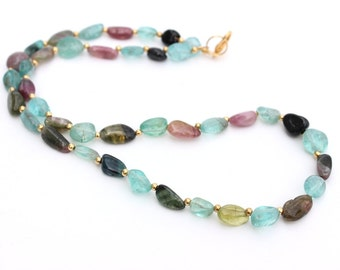 Apatite and Tourmaline Necklace, Beaded Necklace, Blue Necklace, Beach Necklace, Summer Necklace, Resort Jewelry