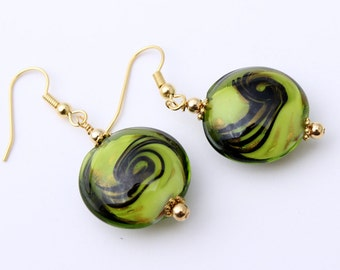 Lime Green and Black Swirl Earrings, Lampwork Glass