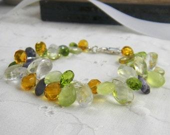 Gemstone Bracelet, Multi Gemstones, Teardrop bracelet, Briolette bracelet, Multicolor Bracelet, Beaded Bracelet, Sterling Silver