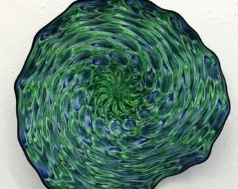 Beautiful Hand Blown Glass Art Wall Platter Bowl 6521  ONEIL