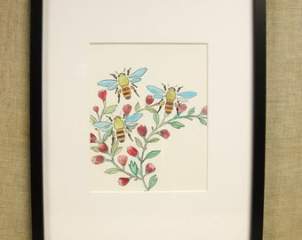 Watercolor Painting, Flowers , Bees , Insects , Garden , Landscape Painting, Original Art , Unframed, Handmade , Flower Painting, Floral
