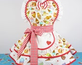 Ice Cream Shop Cones and Ruffles Apron Womens Retro Pinup Diner Waitress Apron