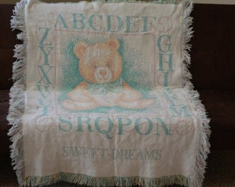 ABC Toddler Throw--Vintage Toddler Bed Blanket--Teal Cream Teddy Bear Kawaii Throw--Early 90s