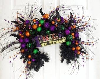 Halloween Wreath, Halloween Swag, Halloween Decor, Black Swag, Trick or Treat Swag, Whimsical Wreath, Front Door Wreath, Black Wreath