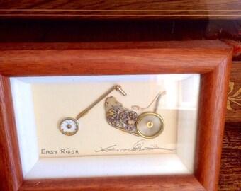 Vintage frame - bike rider - motorbike lover - Harley Davidson lover - bikes - Quality Collages - framed art - watch clock parts - art