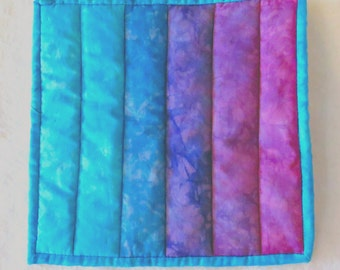Potholder -- Ombre in Hand Dyed Shades of Aqua to Purple-Pink, Hotpad, Mug Rug, Snack Mat