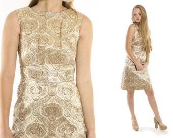 Vintage 60s Brocade Dress Metallic Lurex Sheath Dress Sleeveless Party Dress 1960s Wiggle Dress Pinup Rockabily Fashion Medium M