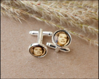 Custom Photo Cufflinks, Wedding Cufflinks, Gift for Father, Gift for Groom, Men's Accessories, Personalized Cufflinks - USA Shipping!!
