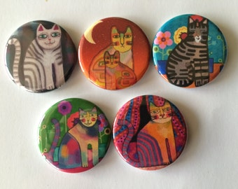 Magnets set of 5 button  mini 1 inch or 1.25 inch cat magnets you choose the size