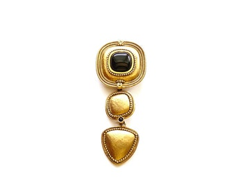 Vintage Designer Lapel Pin Gold Tone with Onyx Cabochons 4 Inches by Lazuli