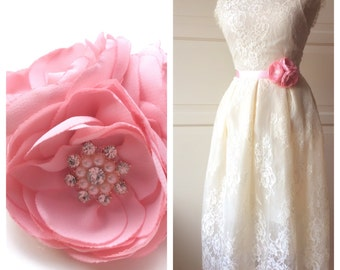 Romantic  Bridal Satin  Belt Flower Sash for Wedding
