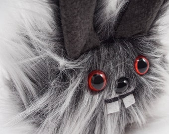 Plush Dust Bunny.... Rabbit stuffed animal handmade in Seattle...Red eyes