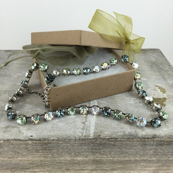 Swarovski Crystal Necklace Antique Silver base with 38 8.5mm stones in Indian Sapphire, Chrysolite, Moonlight, Luminious Green