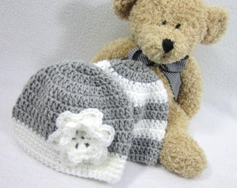 Gray and White Baby Hats, Twins Crochet Infant Caps, MADE TO ORDER by Charlene, Photo Prop, Twins or Triplets, Easter Present for Boy & Girl