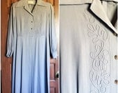 1940s Gray Dress with Soutache and mother of pearl link buttons size large