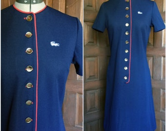 1960s Navy and Red David Crystal Shirt Dress Small