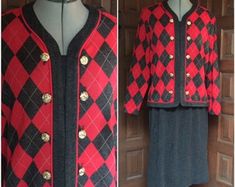 Red and Gray Argyle Sweater Suit