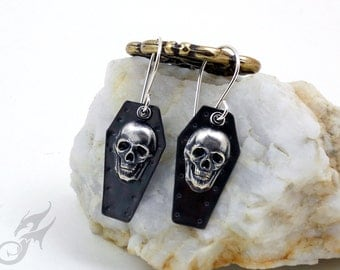 KNIGHTFALL Series ~ Gothic Coffin Lid Casket Skull Earrings in Hammered Copper w/ Silver Plated Brass on Sterling Silver Ear Wires ~ #E0706