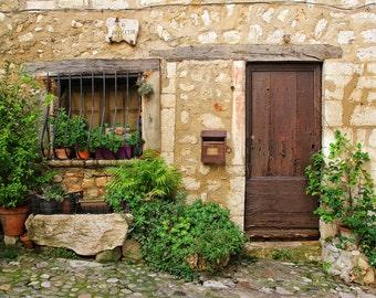 Fine Art Photography, old wooden door, plants and window, village France, St Paul de Vence, 8x12, 8x10 stone wall