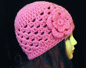 Pink Crochet Beanie, Pink Hat, Womans Accessories, Spring Hat, Pink Beanie
