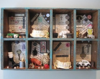 Mixed media assemblage, found object art, creepy home decor