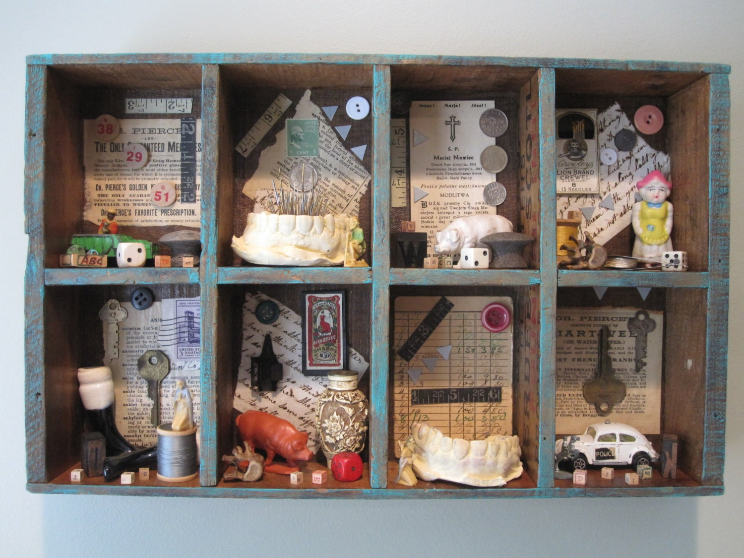 Mixed media assemblage found object art creepy home decor Oddities home decor