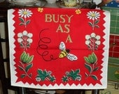 Vintage Red Kitchen Towel Busy As A Bee