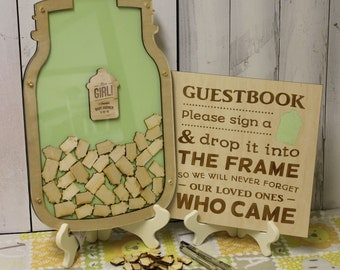 Baby Shower/Personalized Guest Book/It's a Girl/Baby Shower Guest Book/Guest Book/Wood Shapes/Bottle/Baby Bottle/Outline/Fast Shipping/Green