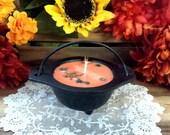 Pentacle Cast Iron Cauldron with Candle, Spiced Pumpkin Cauldron Candle, Samhain, Halloween, Pagan Candle