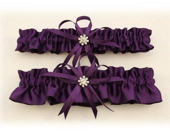 Plum Color Wedding Garter Set with Rhinestone Charms  (Your Choice, Single or Set)