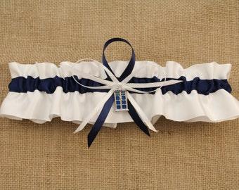 Satin White and Navy Blue Keepsake Garter with Tardis Charm