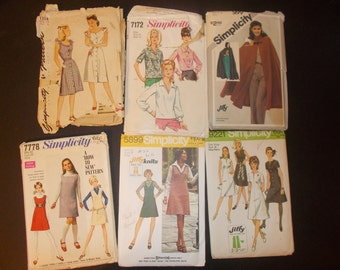 Inventory 78 Vintage Sewing Patterns Lot of 6 size 14