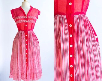 Vintage 50s dress | 1950s Cotton Dress | Minx Modes Red and White Striped Summer Dress