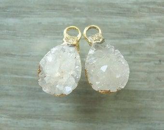 Natural Agate Druzy Drusy lovely Teardrop Small Pendant Charm, 24K Gold Edged, Teardrop,  1 pair, n14-8