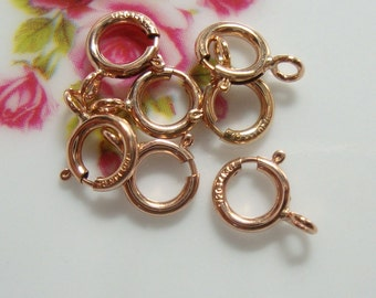 5 pcs, 5.5 mm, 14k ROSE Gold Filled Spring Clasp with Closed Ring, Made in USA