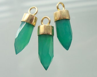 Green Onyx Gold spike Pendant, Bullet Point Gold Vermeil Sterling Silver Capped Pendant, 18-20x5.5mm, CP-0012