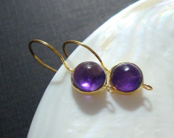 Gold Vermeil over 925 Sterling Silver Bezel Rim Genuine Purple Amethyst French Ear Wire closed Ring, 23x11mm, EW-0056,Feb birthstone